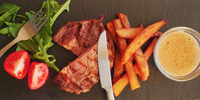 Steak, Chips and Peppercorn Sauce Recipe
