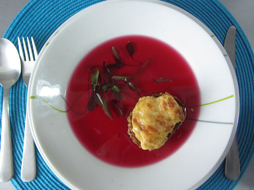 Tomato Consommé with Cheese on Toast Recipe